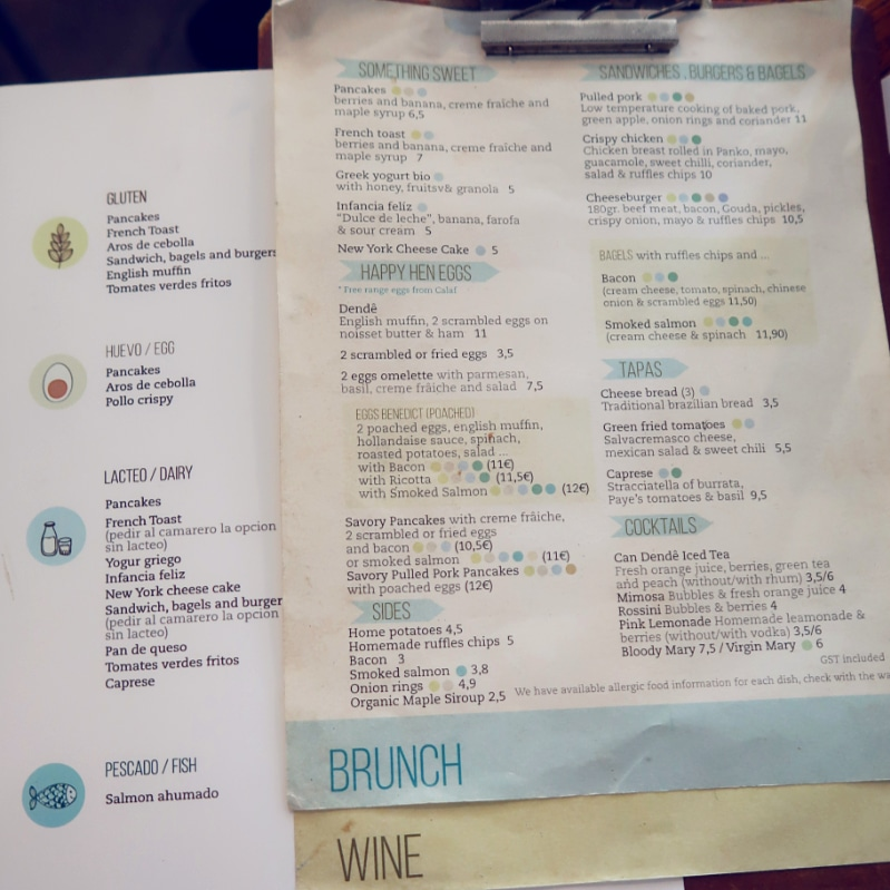 Best brunch in Barcelona @minkaguides Can Dendê brunch menu