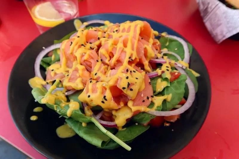 Gluten-free Barcelona Kino-Cafe-salmon-salad CREDIT Minka Guides