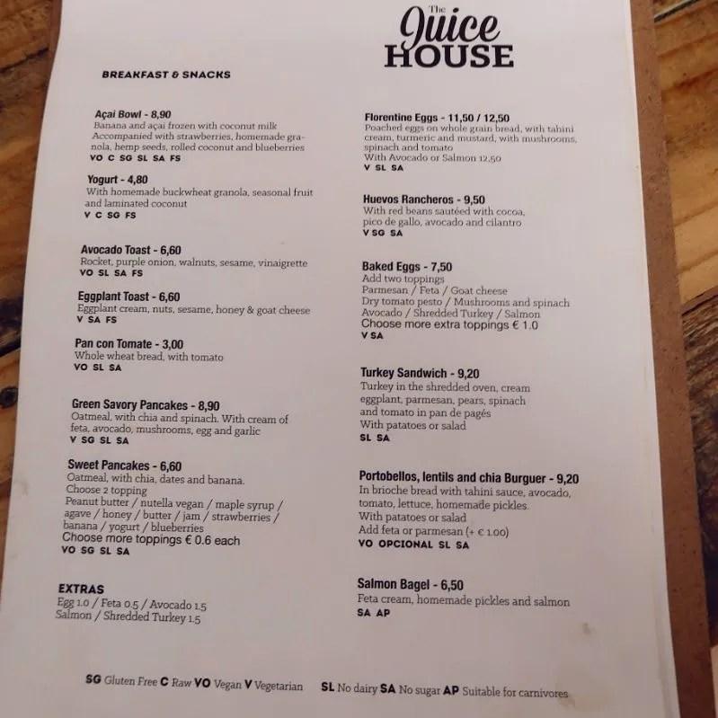 Gluten-free Barcelona The-Juice-House-breakfast-menu CREDIT Minka Guides