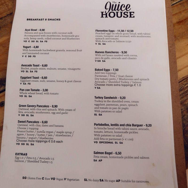 Gluten-free Barcelona The-Juice-House-breakfast-menu CREDIT Minka Guides