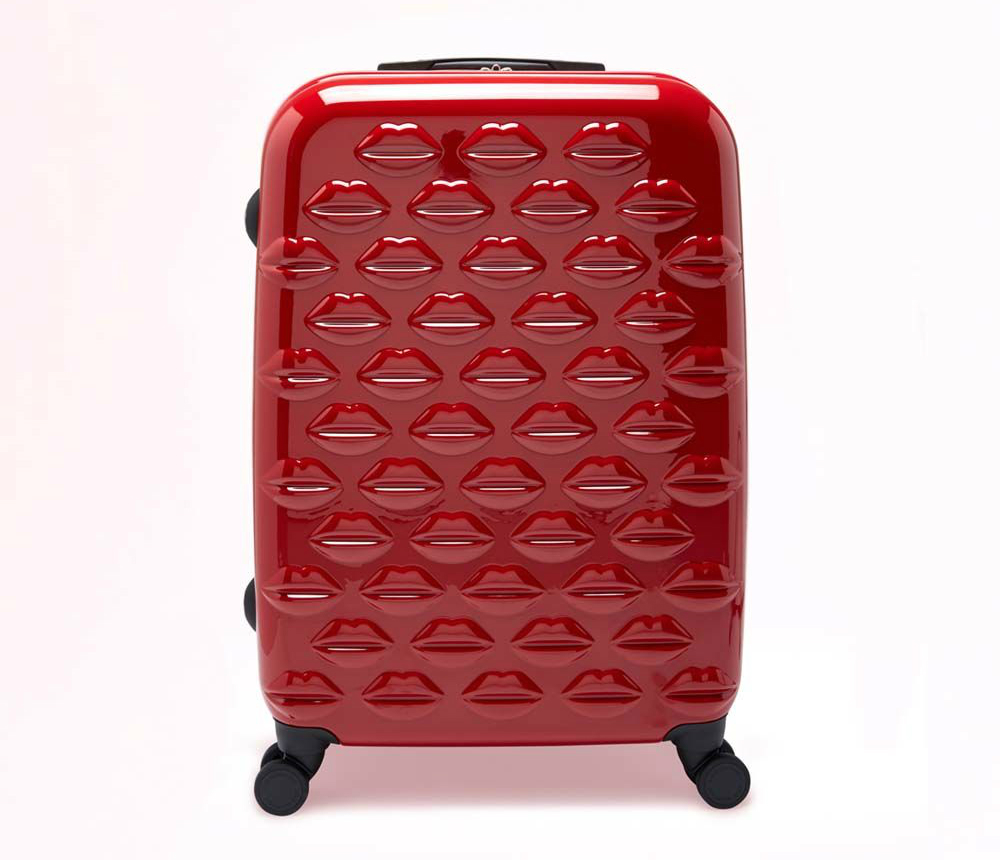 Gifts for travel lovers Lulu Guinness red lips suitcase
