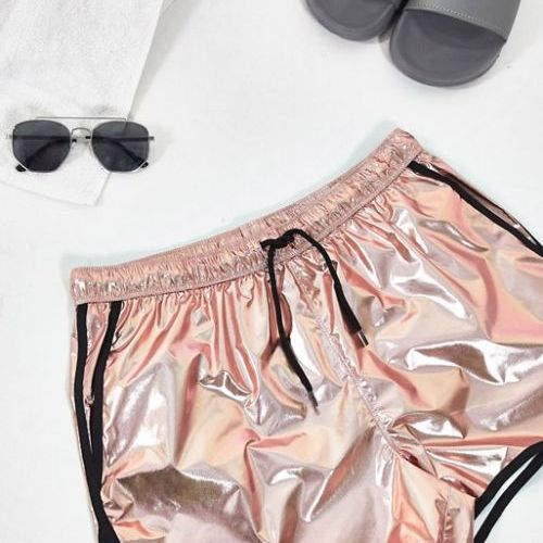 Cute swimsuits ASOS DESIGN runner swim shorts in metallic rose gold with contrast binding CREDIT ASOS