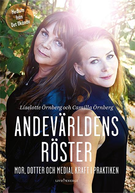 Omslaget till Camilla och Liselotte Örnbergs bok Andevärldens röster, redaktör Pia Hintze