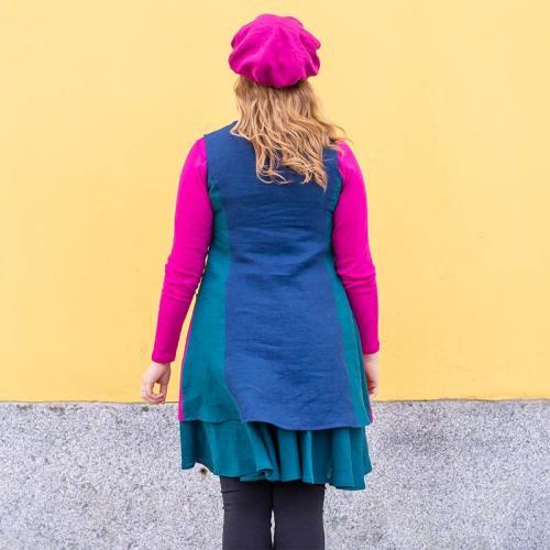 Taskutunika pellavaa, monivärinen, viileät värit, takaapäin