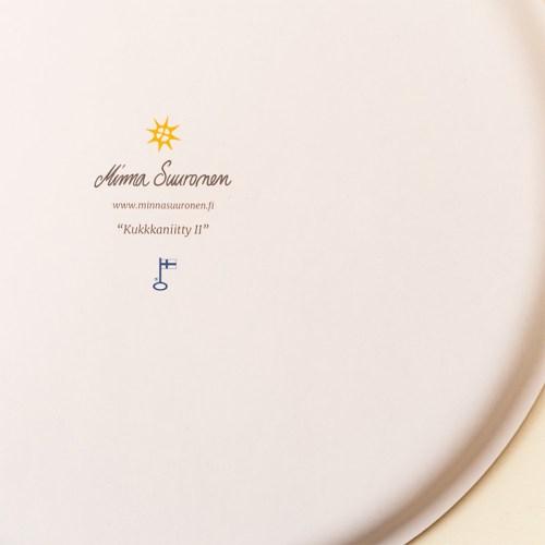 Pyöreä iso tarjotin värikkäällä kukkataiteella, Minna Suuronen Design, sopii kodin sisustukseen ja keittiöön