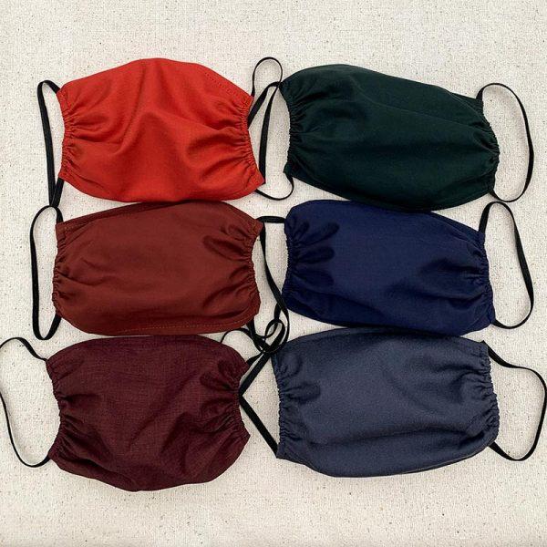 Puuvillakasvomaskit kuudessa eri värissä, kuminauhakiinnitys