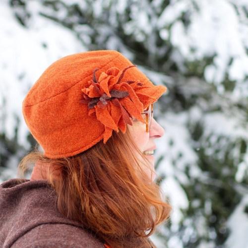 Lipallinen villakangashattu, oranssi