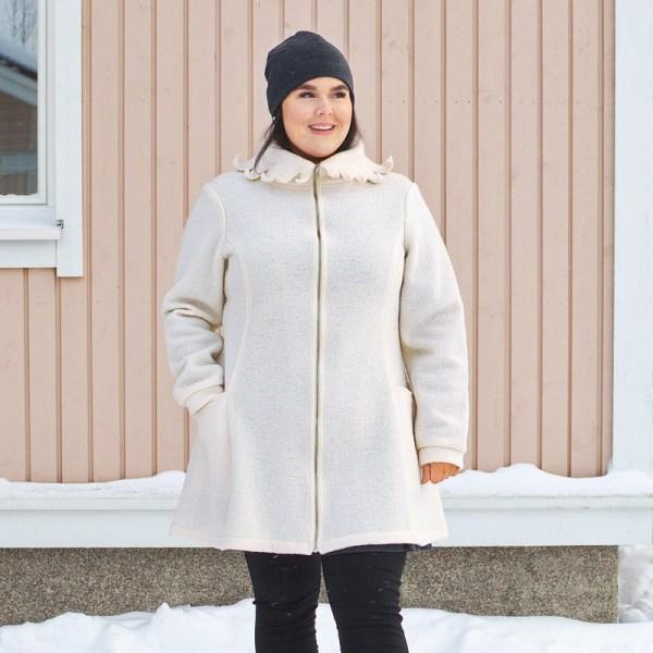 Valkoinen villakangastakki, Minna Suuronen Design