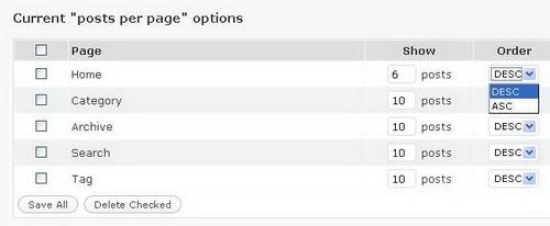 MaxBlogPress Different Posts Per Page