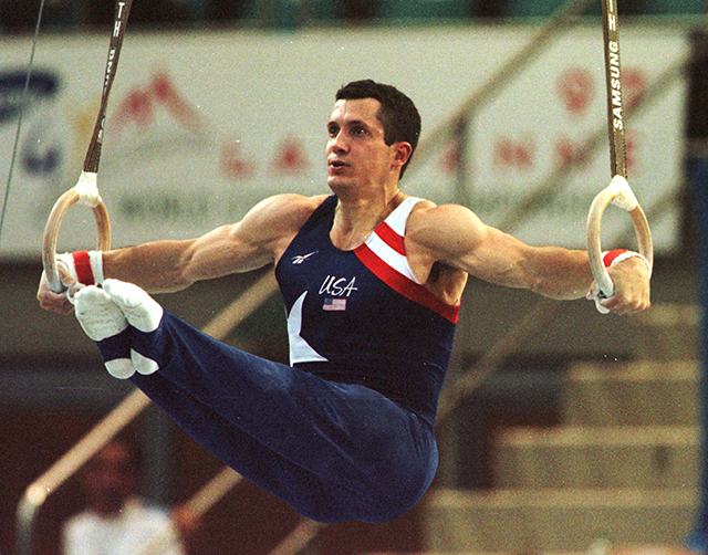 John Roethlisberger performing his rings exercise during the men's qualification round of the World Gymnastic Championships in Lausanne, Switzerland, on September 3, 1997.