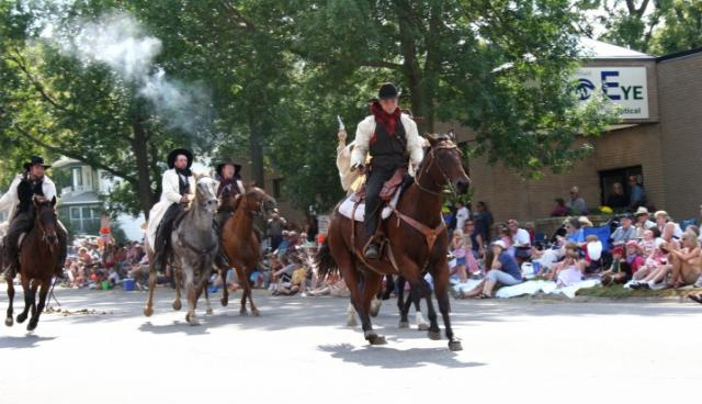 Another shot of the James-Younger Gang re-enactors riding in The Defeat of Jesse