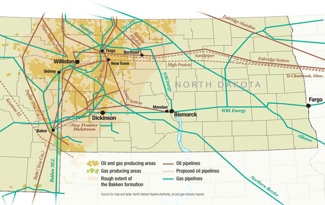 The Bakken formation featuring current and proposed pipelines.