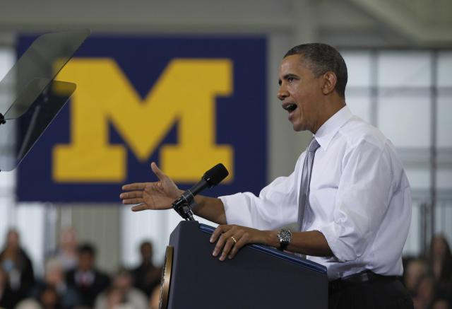 Obama speaks at a rally at the University of Michigan