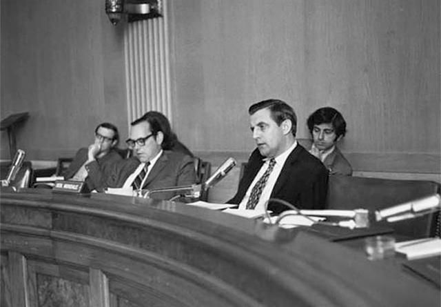 Walter Mondale shown speaking during a 1971 Senate hearing.