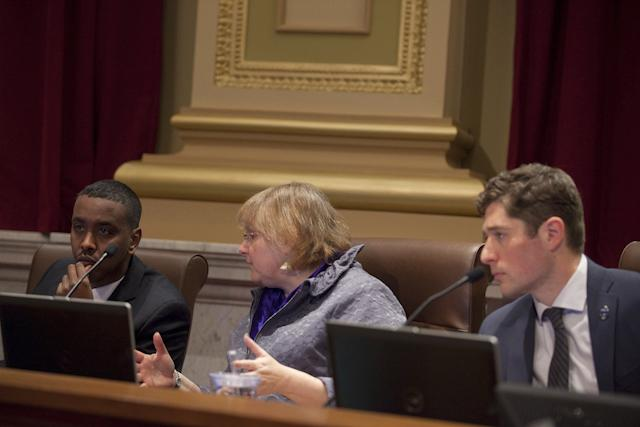 Abdi Warsame, Lisa Goodman and Jacob Frey
