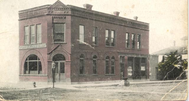 A vintage photo of the First National Bank