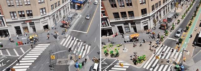 New York's Union square, before and after implementation of NACTO design princip