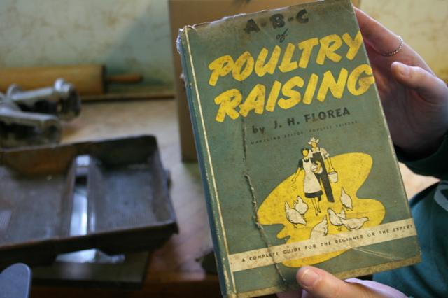 Among the old books uncovered was this one on poultry. Bob Sanger kept a flock o