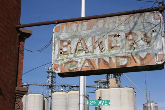 The old sign for the former Sanger's Bakery still graces the building.