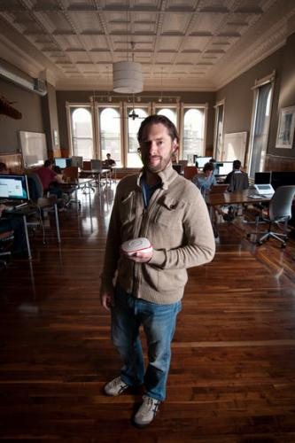 Ben Edwards with a SmartThings sensor