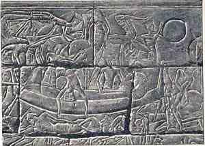 Sea Peoples Warship, Medinet Habu, Mortuary Temple of Ramesses III, Luxor, Egypt