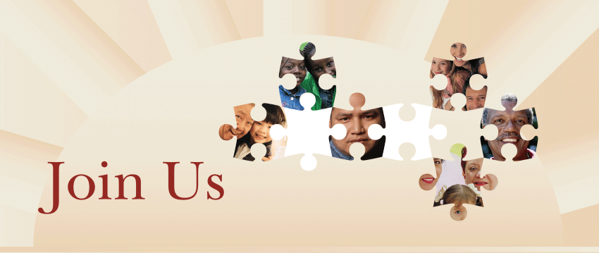 Join Us - images of multicultural people inside of puzzle pieces
