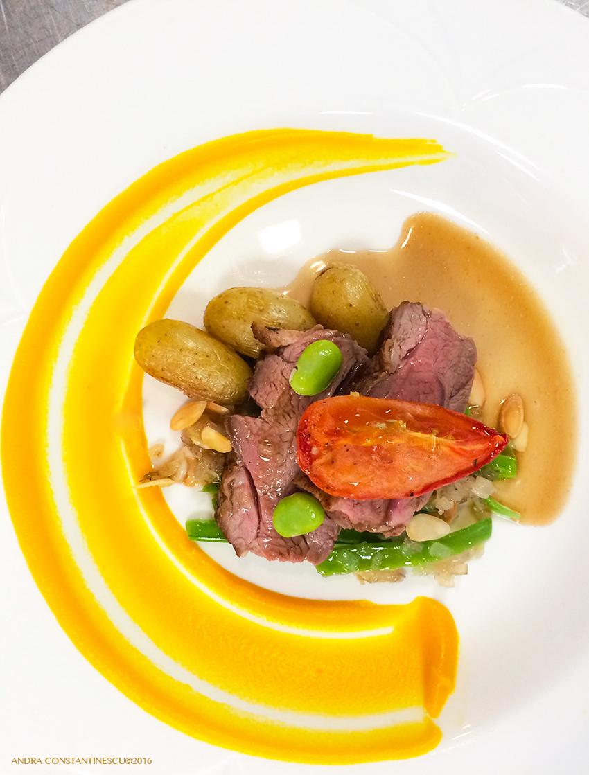 Sample Menu: Roasted Rump of Lamb with Carrot Puree, Confit Potato and a Red Wine Jus