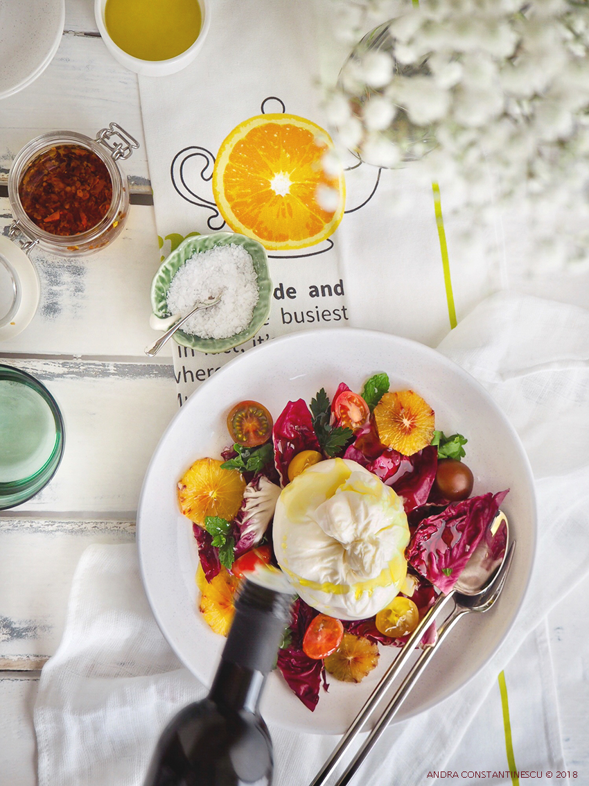 burrata, radicchio and blood orange salad