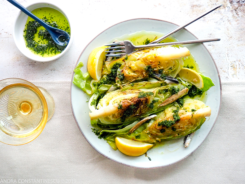 Hispi Cabbage with Salsa Verde