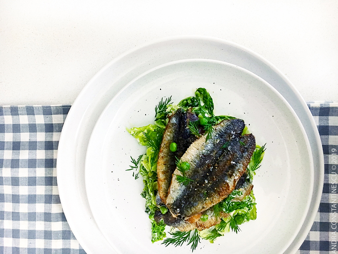 Fried sardines served with creamed summer greens for a light, easy dinner