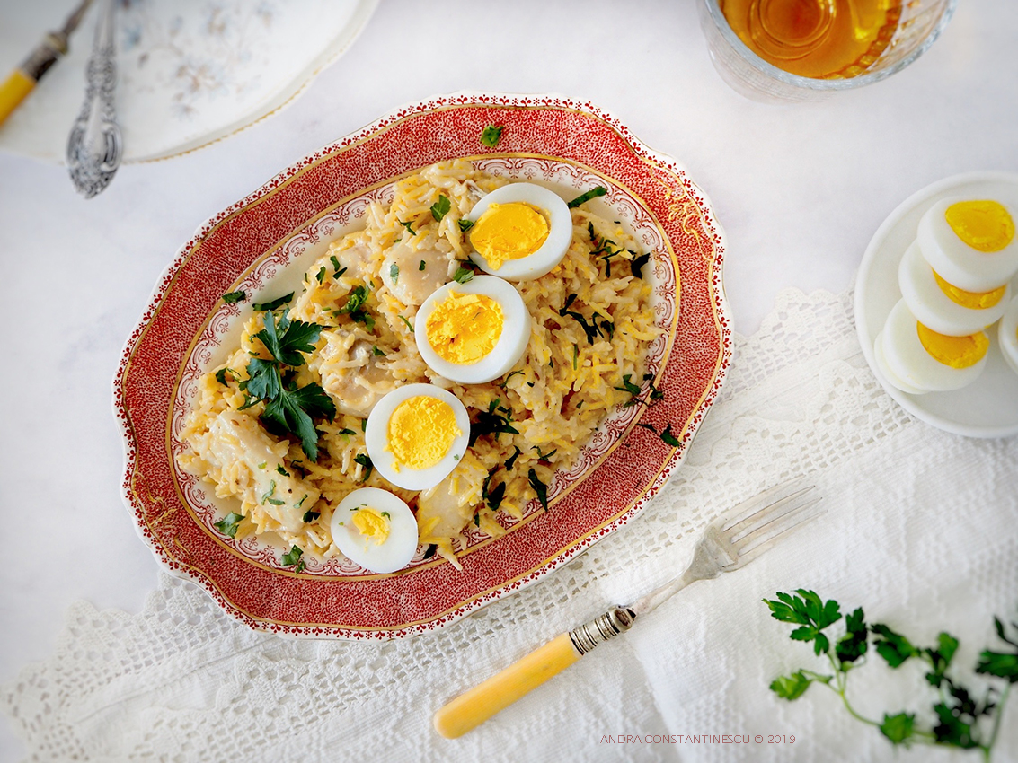 Classic kedgeree recipe with smoked cod and boiled eggs