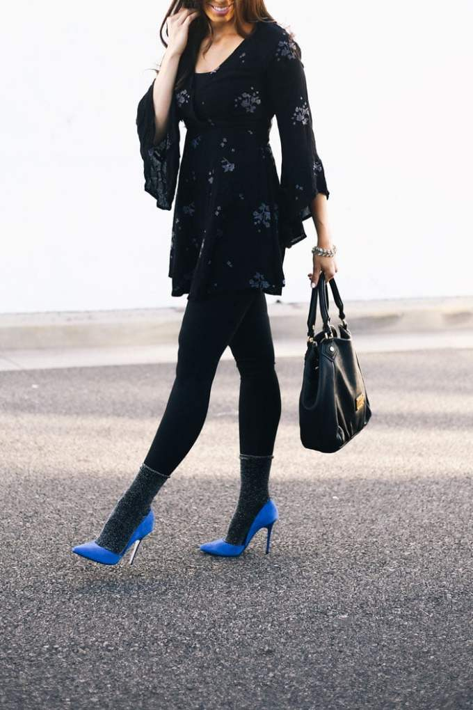 how to wear socks with heels