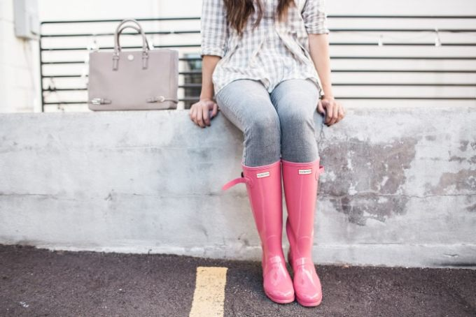 pink glossy hunter boots