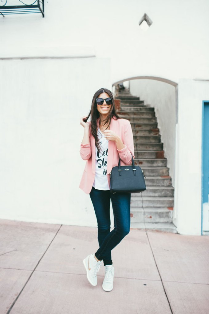 blazer and wedge sneaks