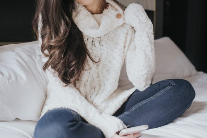 cream cable knit cowl neck sweater