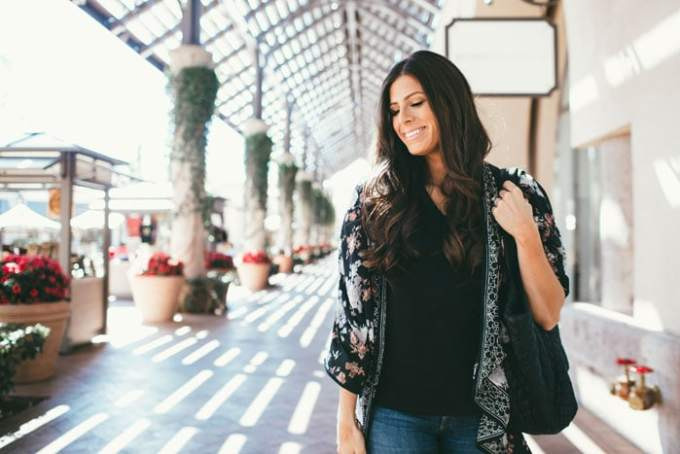 black floral kimono - the perfect layering piece for warmer weather!