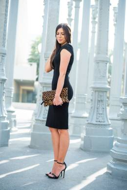 perfect little black dress! love this paired with leopard