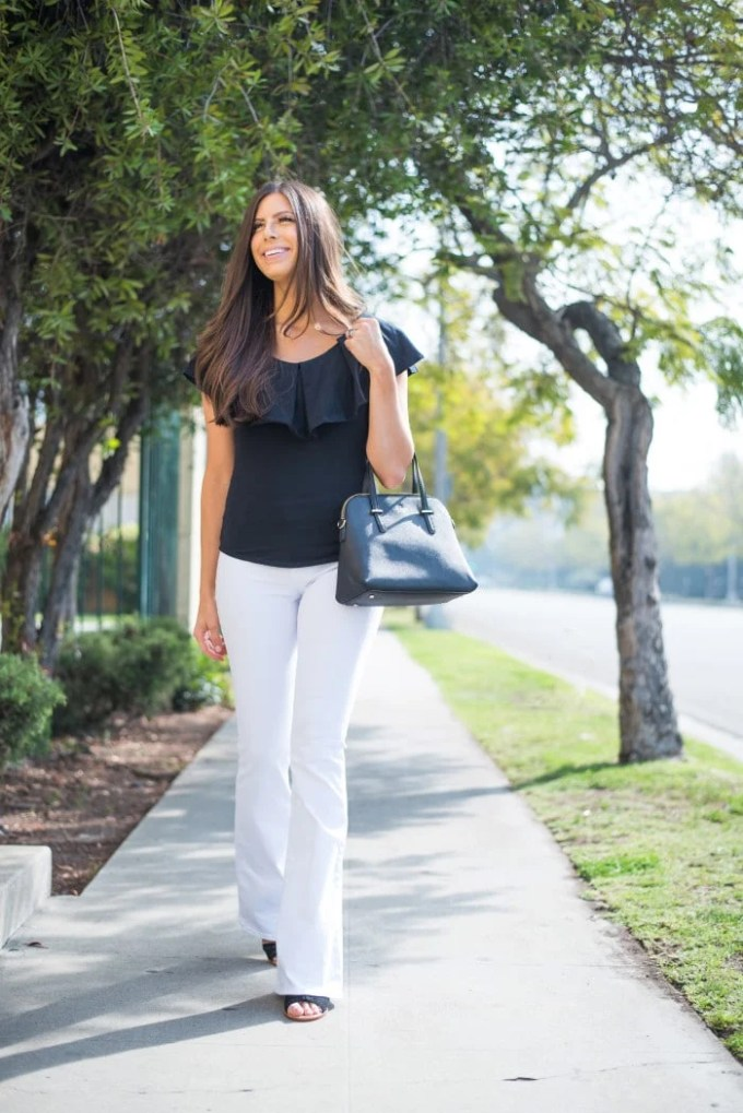 fit and flare free people top with white flare jeans! Cute for a casual lunch or date night.