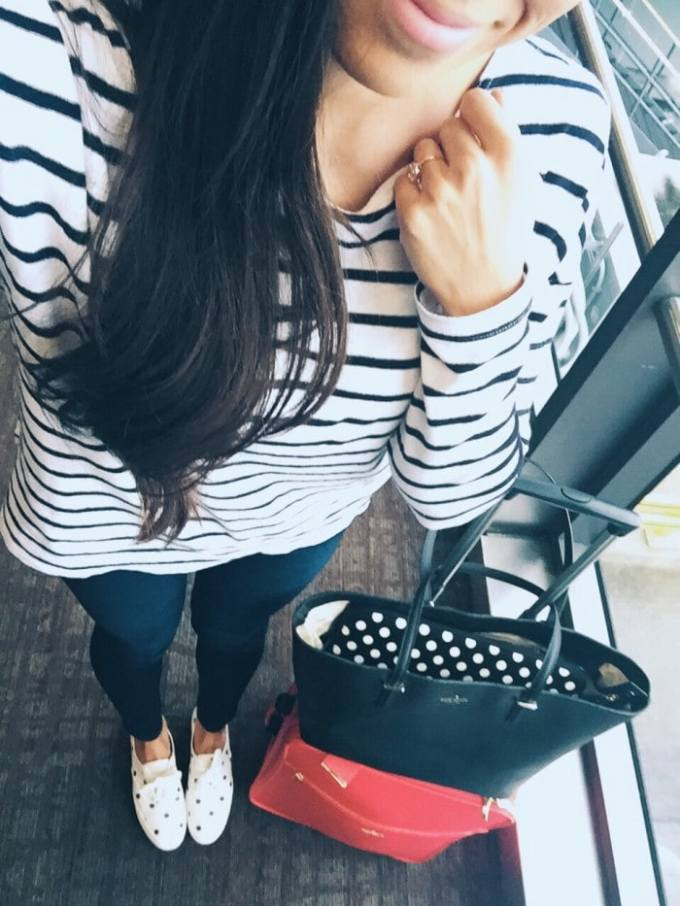 kate spade travel outfit! love the stripes and polka dot combo.