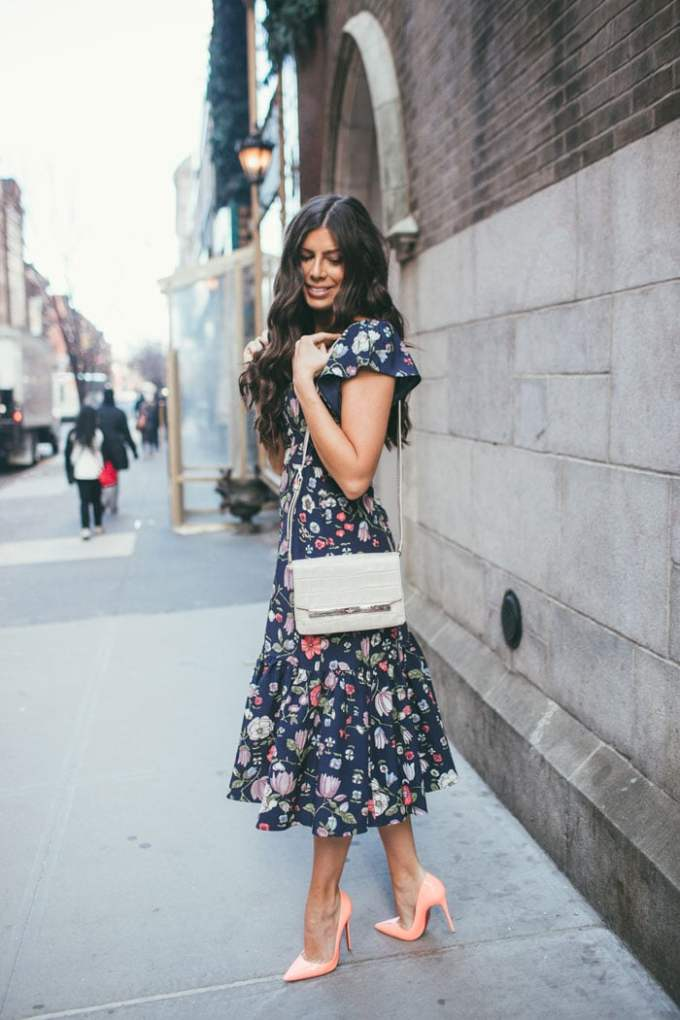 prettiest floral off-the-shoulder dress!