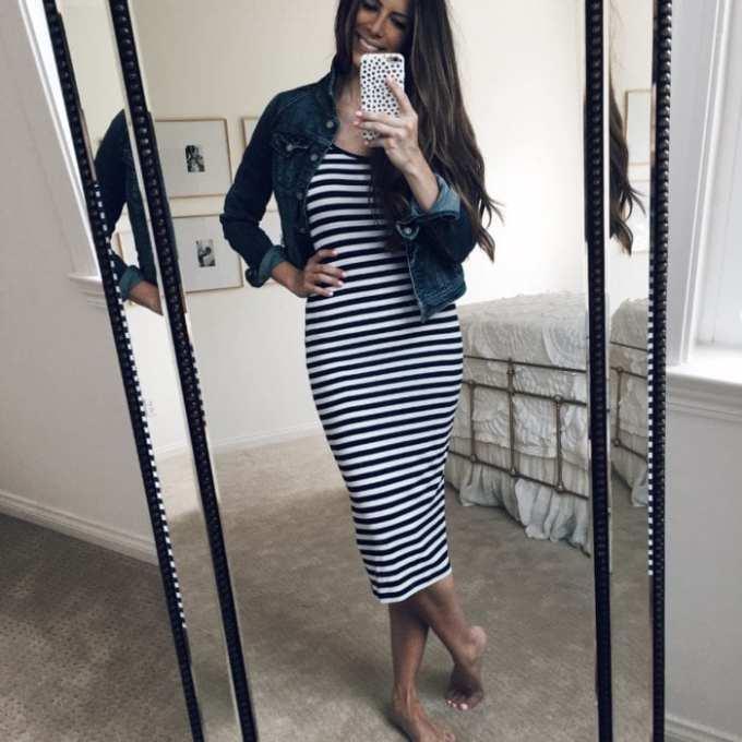Stripe dress with denim jacket