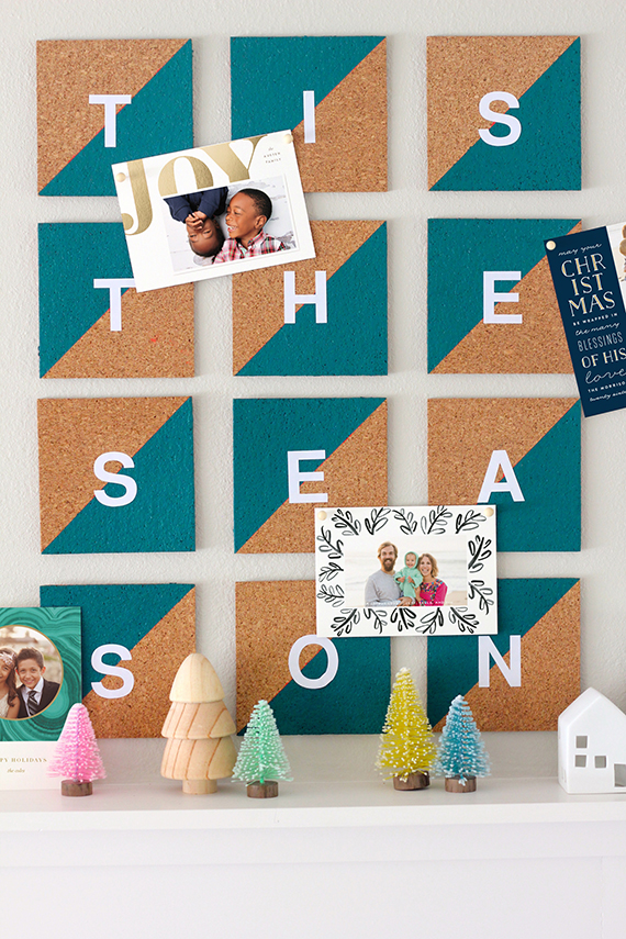 DIY Cork Tile Christmas Card Display Julep