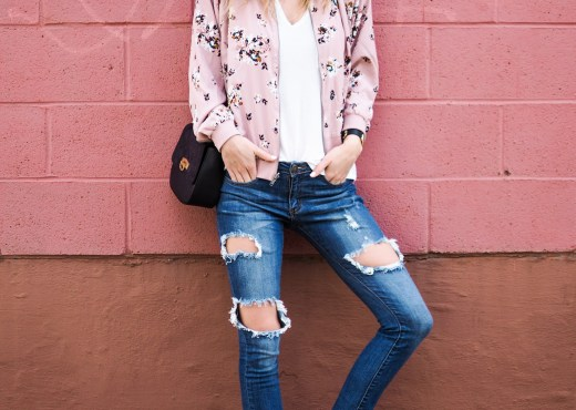 outfit with pink bomber jacket