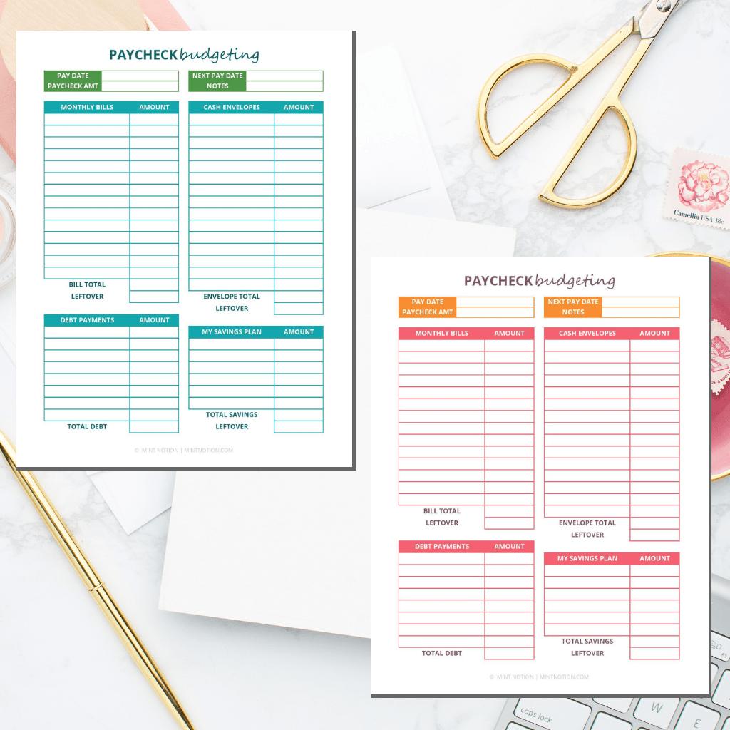 Paycheck Budgeting Printable Worksheet 1