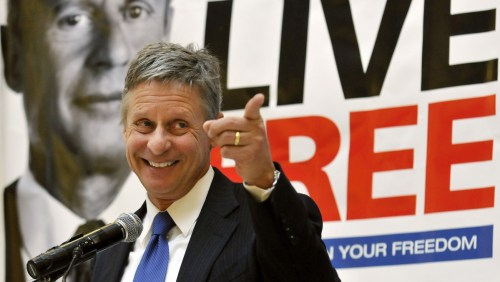 In this Wednesday, Dec. 28, 2011 file photo, former New Mexico Gov. Gary Johnson speaks at a news conference during which he announced he is leaving the Republican Party in favor of seeking a presidential nomination as a Libertarian, at the State Capitol in Santa Fe, N.M. (AP Photo/Albuquerque Journal, Eddie Moore, File)
