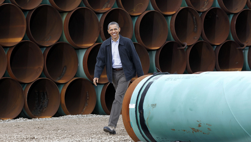 """This March 22, 2012 file photo shows President Barack Obama arriving at the TransCanada Stillwater Pipe Yard in Cushing, Okla. Obama has revived debate about the number of jobs that would be created by the proposed Keystone XL oil pipeline from Canada to Texas. The 1,700-mile pipeline would carry oil from tar sands in Alberta to refineries in the Houston area, passing through Montana, South Dakota, Nebraska, Kansas and Oklahoma. During a jobs speech Tuesday, July 30, 2013, in Tennessee, Obama downplayed the pipeline's effect on jobs, calling it a """"blip"""" compared to the overall economy. He also made that point during an interview with The New York Times last week. (AP Photo/Pablo Martinez Monsivais, File)."""