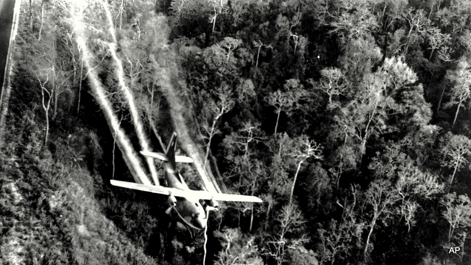 A U.S. Air Force C-123 flies low along a South Vietnamese highway spraying Agent Orange on dense jungle growth beside the road to eliminate ambush sites for the Viet Cong during the Vietnam War. During the Vietnam War, Air Force C-123 planes sprayed millions of gallons of herbicides over the jungles of Southeast Asia to destroy enemy crops and tree cover.
