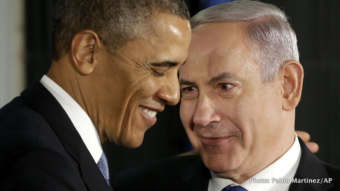 President Barack Obama and Israeli Prime Minister Benjamin Netanyahu huddle during a joint news conference in Jerusalem, Israel.
