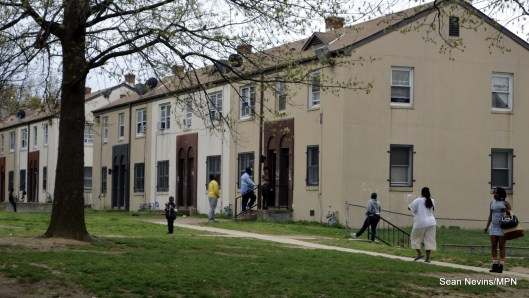A row of townhomes in Barry Farm housing project, Washington DC.