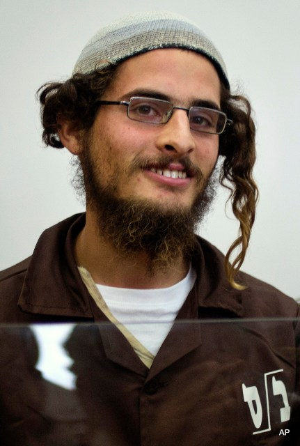 Head of a Jewish extremist group Meir Ettinger appears in court in Nazareth Illit , Israel